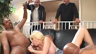A white wife with a pierced clit gets drilled by two black guys