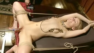 Sexy Blonde Gets Tied Down And Tortured