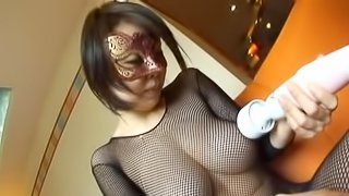Horny Japanese MILF in a mask gets pounded