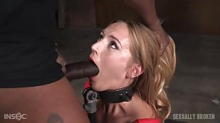 Thick metal collar around a face fucked whore