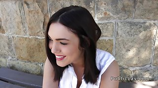 Euro cute babe bangs outdoor in doggy style