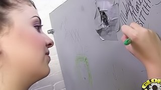 Toilet Room Gloryhole Gets Crazy with Big Black Cock