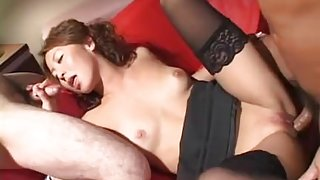 Threesome fucking the babe who desires to be ravaged