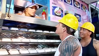 A guy pounds a stacked hottie in the back of her food truck