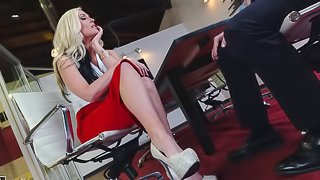 Great office sex with this stunningly hot foot fetish babe