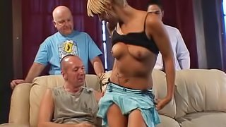 Hot blonde is ready to ride a lucky man's erected prick
