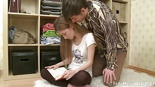 Slender teen beauty gets interrupted while studying and creampied