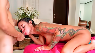 Silicone queen gobbles down a guy's thick dick