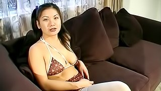 Divine Asian amateur in nylon stockings giving a blowjob before being smashed hardcore as she yells