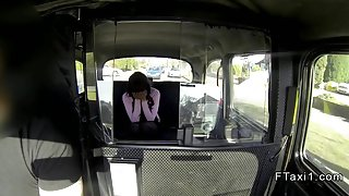 Cheated British babe fucked from behind in fake taxi