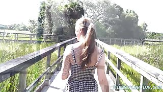 Busty Babe Kimber Lee Flashes and Gives BJ in Public Park!