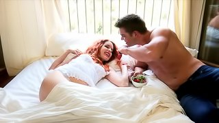 Redhead bombshell Amarna Miller blows and gets her pussy slammed
