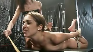 Tied up and gagged brunette gets toyed by her mistress