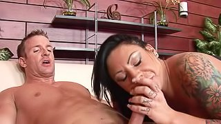 Drunk latina babe with huge tits is sucking cock