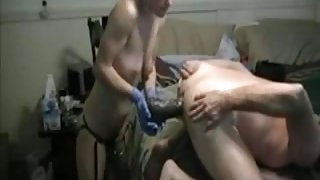 Guy gets fisted and monster dildo driven up his ass