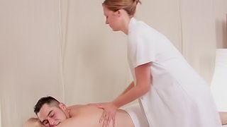 Cute masseuse with sexy titties fucked in her wet pussy