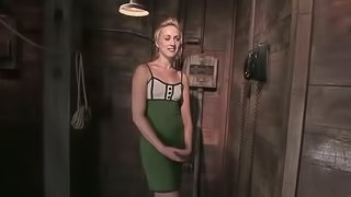 Bondage and twitching session with a cock in her cave