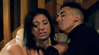 Raven haired porn star gets tamed by her naughty Latin boyfriend