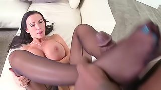 Delicious brunette MILF in sexy stockings wants a huge black dick