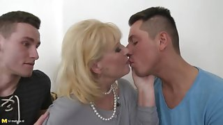 Supreme buxomy aged woman at a hot group sex party
