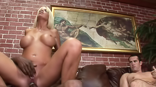 Bisexual cuckold sucks the big black cock that fucks his wife