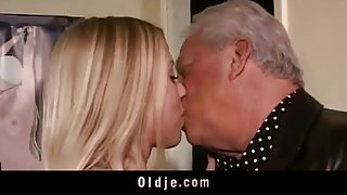 Old perverts seduced by horny blonde