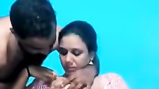 Cute kissing from an older amateur Indian couple