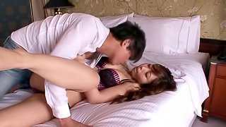 asian blonde with small tits rides cock and cums in her mouth