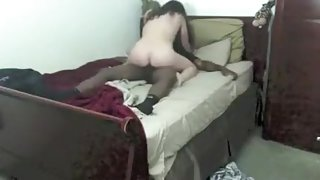Interracial brunette sucks and fucks big black cock and enjoying her pussy pumping by black horny guy