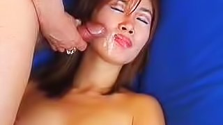 Asian sex scene with sticky facial
