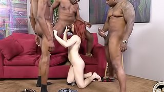 Interracial Gangbang with a Wild Redhead MILF in the Center