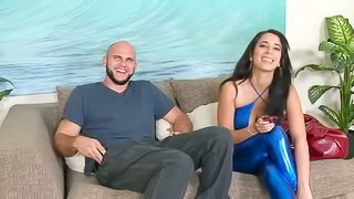 Hot Nina Lopez gets her smooth pussy drilled on a sofa