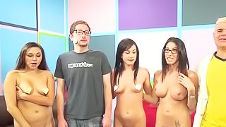 Four sluts are fucking with man
