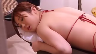 Kinky erotic games with a Japanese cutie covered in oil