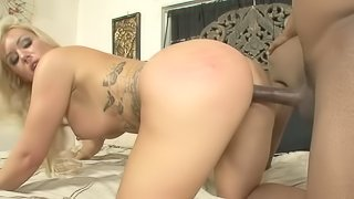 A blonde that has a nice meaty pussy is getting a big black cock in