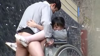 Miracle Japanese Nurse Having Sex with a Guy in Wheelchair in Public