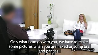 Tiny blonde amateur banged on casting with fake agent