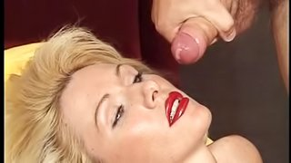 Trendy milf gets jizz on her face after giving blow job hardcore