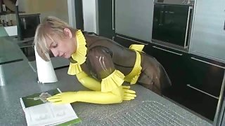 Slave girl bent over kitchen counter and fucked