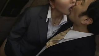 Officelady groped and throat fucked in elevator