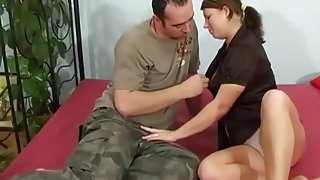 College girl BBW gets fucked on the bed.