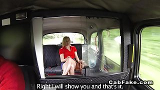 Blonde flashing big arse in fake taxi