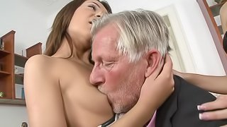 Alexis Brill and Meg Magic and share the cock of an old man