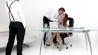 Business meeting turned into wild group sex in the office