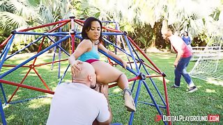 Awesome outdoor anal sex with a long-legged brunette Amara Romani