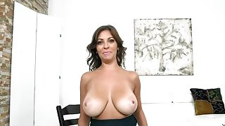 Charming brunette Kitana Flores is making interracial love