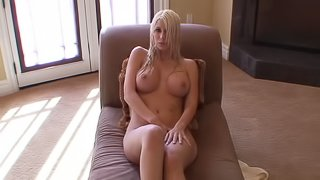 Wonderful blonde is taking shower and demonstrating her body