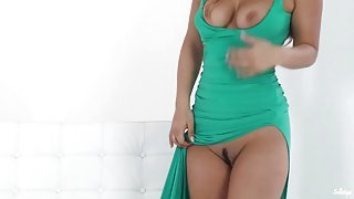 Green dress seductress masturbating