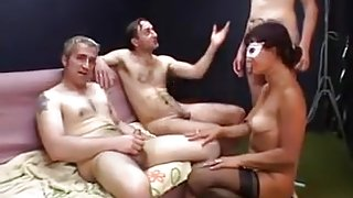 Blonde French Wife in MMF Threesome with DP