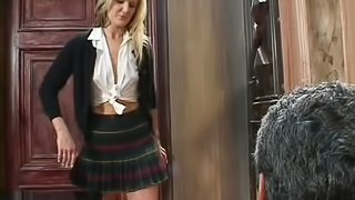 Slutty cowgirl in sexy miniskirt gets hammered hardcore after giving blowjob in hot old vs young shoot